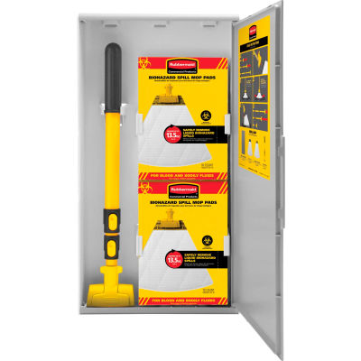 Rubbermaid® Spill Mop Kit, Cabinet/Biohazard Spill Mop Pads/Spill Mop Handle - 2031094