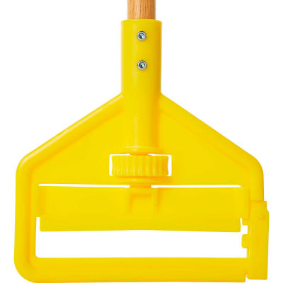 """Rubbermaid® 60"""" Invader Side Gate Wood Mop Handle, Yellow - FGH116000000 - Pkg Qty 12"""