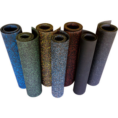 Rubber-Cal Elephant Bark Rubber Flooring Rolls 5mm Thick 4' x 15' Green Dot