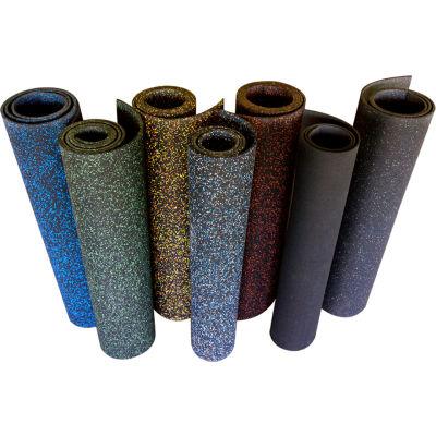 "Rubber-Cal Elephant Bark Rubber Flooring Roll 3/16"" Thick 4' x 25' Green Dot"