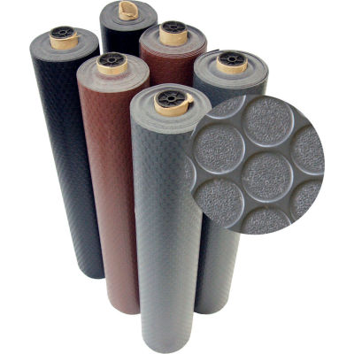 "Rubber-Cal Coin-Grip Anti-Slip Rubber Mat 1/16"" Thick 4' x 8' Dark Gray"