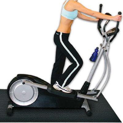 "Rubber-Cal HD Fitness Equipment Elliptical Mat 3/16"" Thick 4' x 7' Black"