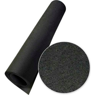 "Rubber-Cal Elephant Bark Rubber Flooring Rolls 1/4"" Thick 4' x 10' Black"
