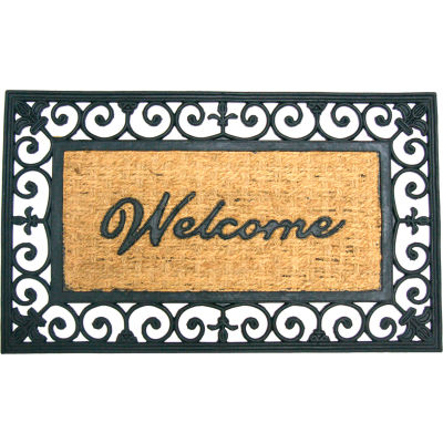 """Rubber-Cal Welcome To Your Fortress Coir Door Mat 5/8"""" Thick 1.5' x 2.5'"""