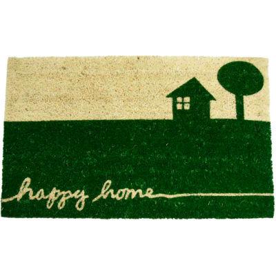 "Rubber-Cal Happy Home Coir Door Mat 5/8"" Thick 1.5' x 2.5'"