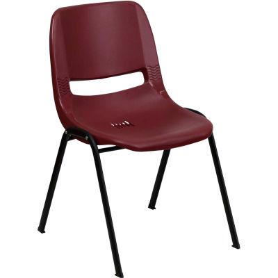 Flash Furniture Ergonomic Shell Stack Chair  - Plastic - Burgundy - Hercules Series - Pkg Qty 4