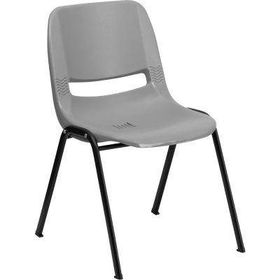 Flash Furniture Ergonomic Shell Stack Chair  - Plastic - Gray - Hercules Series - Pkg Qty 4