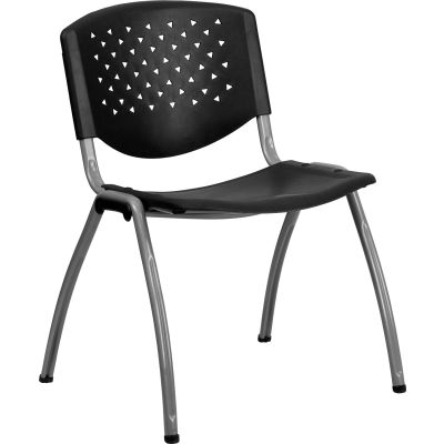 Flash Furniture Stack Chair - Plastic - Black - Titanium Frame - Hercules Series