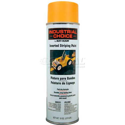 Rust-Oleum S1600 System Inverted Striping Paint Aerosol, Yellow - Pkg Qty 6