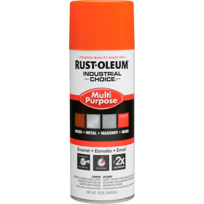 Rust-Oleum Industrial 1600 System General Purpose Enamel Aerosol, Safety Orange, 12 oz. - 1653830 - Pkg Qty 6