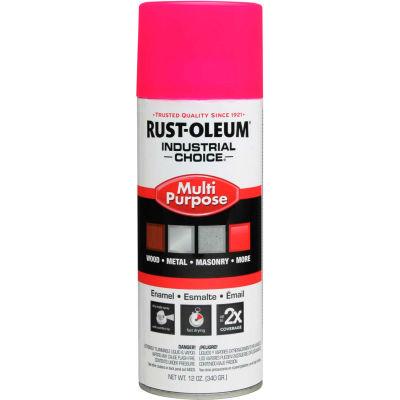 Rust-Oleum Industrial 1600 System Gen Purpose Enamel Aerosol, Fluorescent Pink, 12 oz. - 1659830 - Pkg Qty 6