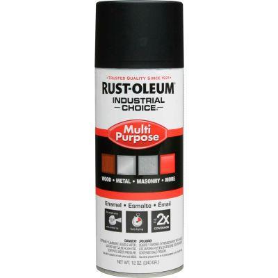 Rust-Oleum Industrial 1600 System General Purpose Enamel Aerosol, SemiFlat Black, 12 oz. - 1678830 - Pkg Qty 6