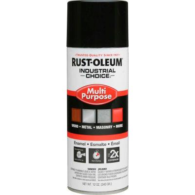 Rust-Oleum Industrial 1600 System General Purpose Enamel Aerosol, Glossy Black, 12 oz. - 1679830 - Pkg Qty 6