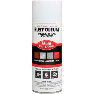 Rust-Oleum Industrial 1600 System General Purpose Enamel Aerosol, White Primer, 12 oz. - 1681830 - Pkg Qty 6