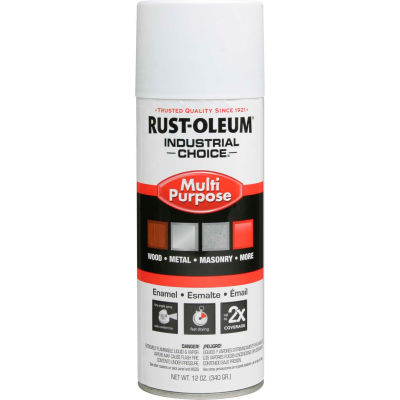 Rust-Oleum Industrial 1600 System General Purpose Enamel Aerosol, Flat White, 12 oz. - 1690830 - Pkg Qty 6