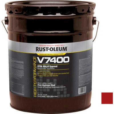 Rust-Oleum V7400 Series <340 VOC DTM Alkyd Enamel, Fire Hydrant Red 5 Gallon Pail - 245386
