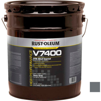Rust-Oleum V7400 Series <340 VOC DTM Alkyd Enamel, Navy Gray 5 Gallon Pail - 245444