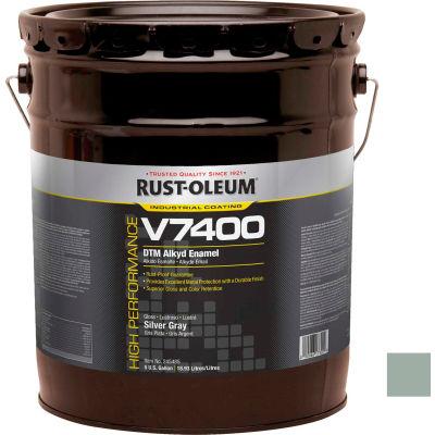 Rust-Oleum V7400 Series <340 VOC DTM Alkyd Enamel, Silver Gray 5 Gallon Pail - 245485