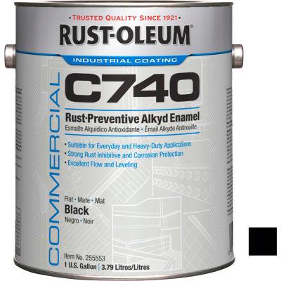 Rust-Oleum Commercial C740 <400 VOC DTM Alkyd Enamel Rust-Prev Maint Paint, Flat BK Gal Can - 255553 - Pkg Qty 2