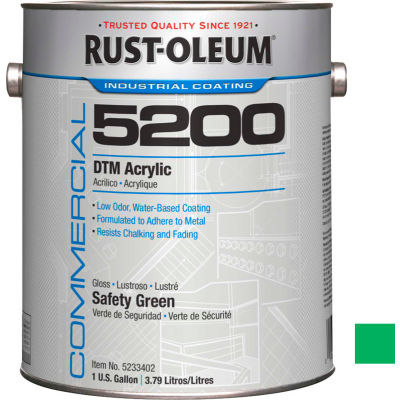Rust-Oleum 5200 System < 250 VOC DTM Acrylic, Safety Green Gallon Can - 5233402 - Pkg Qty 2