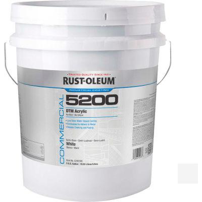 Rust-Oleum 5200 System < 250 VOC DTM Acrylic, Semi-Gloss White, 5 Gallon Pail - 5293300