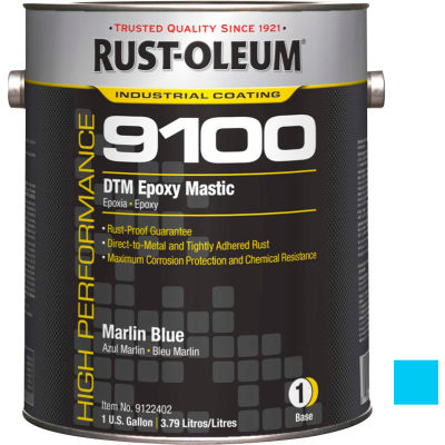 Rust-Oleum 9100 System <340voc DTM Epoxy Mastic, Marlin Blue Gallon Can - 9122402 - Pkg Qty 2
