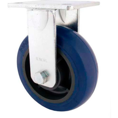"RWM Casters 8"" Rubber on Iron Wheel Rigid Caster with Optional Mounting Plate - 46-RIR-0820-R-43RT"