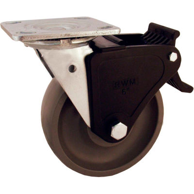 "RWM Casters 6"" Signature™ Wheel Swivel Caster with Face Contact Nylon Brake"