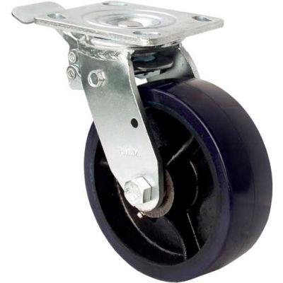 "RWM Casters 5"" Urethane Polypropylene Wheel Swivel Caster with Total Lock Brake"