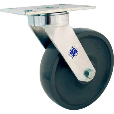 """RWM Casters 48 Series 5"""" GT Wheel Swivel Caster with Optional Mounting Plate - 48-GTB-0520-S-42ST"""