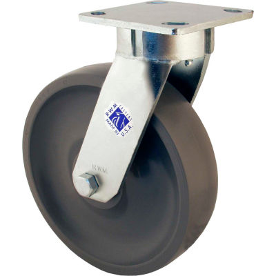 """RWM Casters 65 Series 6"""" Rubber on Iron Wheel Swivel Caster - 65-RIR-0620-S"""