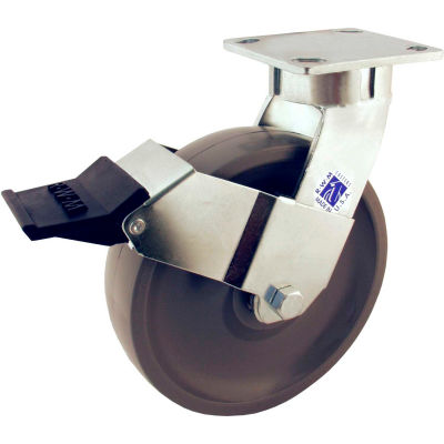 """RWM Casters 6"""" Signature™ Wheel Swivel Caster with Face Contact Brake - 65-SWB-0620-S-ICWB"""
