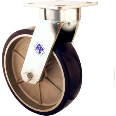 "RWM Casters 6"" Urethane Polypropylene Wheel Swivel Caster with Side Wheel Brake - 65-UPR-0620-S-WB"