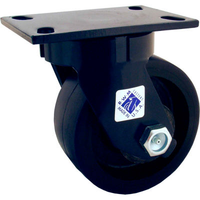 "RWM Casters 75 Series 10"" Urethane Swivel Caster on Iron Wheel with Demountable Swivel Lock"