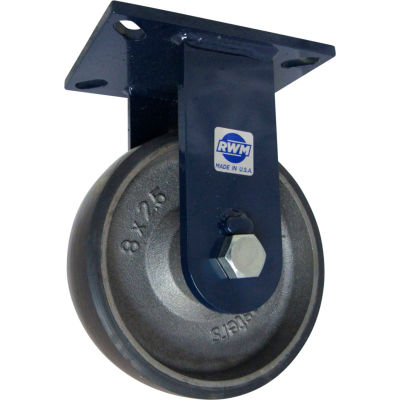 "RWM Casters 76 Series 8"" x 2-1/2"" Urethane on Iron Wheel Rigid Caster - 76-UIR-0825-R"