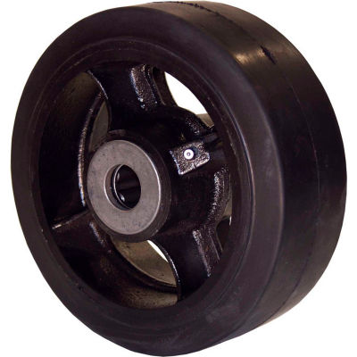 """RWM Casters 5"""" x 2"""" Mold-On Rubber Wheel with Roller Bearing for 1/2"""" Axle - RIR-0520-08"""
