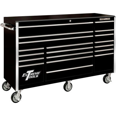 """Extreme Tools RX722519RCBK Professional 72"""" 19 Drawer Black Roller Cabinet"""