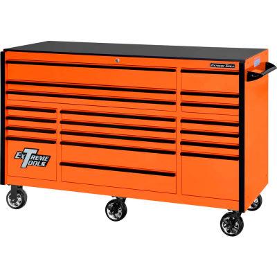 "Extreme Tools RX723019RCORBK-250 Professional 72"" 19 Drawer Orange Trip Bank Roller Cab. Black Pull"