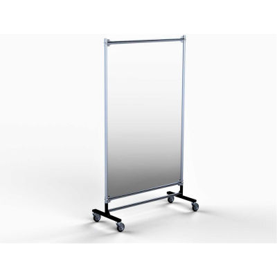 "Railex Area Guard 79""H x 48""W High Impact Clear Shield - Rolling Base - Galvanized Frame"