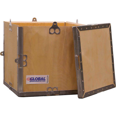 """Global Industrial™ 4 Panel Hinged Shipping Crate with Lid, 11-1/4""""L x 11-1/4""""W x 11-1/2""""H"""