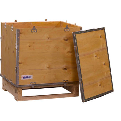 "Global Industrial™ 4-Panel Hinged Shipping Crate with Lid & Pallet, 24"" x 20"" x 25"" O.D."