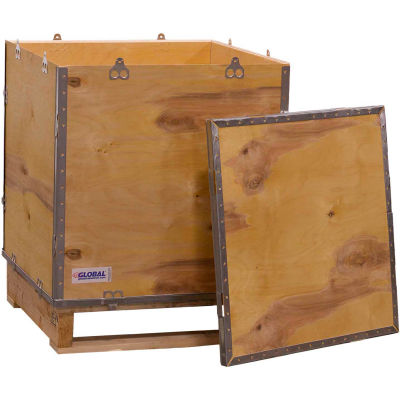 """Global Industrial™ 4-Panel Hinged Shipping Crate with Lid & Pallet, 24"""" x 24"""" x 28-3/4"""" O.D."""