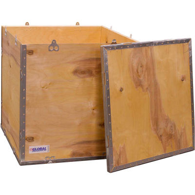 """Global Industrial™ 4-Panel Hinged Shipping Crate with Lid, 32"""" x 24"""" x 24"""" O.D."""