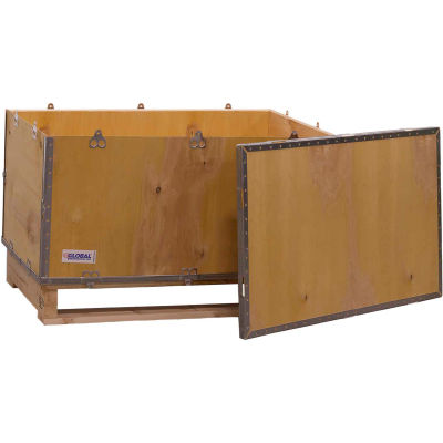 """Global Industrial™ 4-Panel Hinged Shipping Crate with Lid & Pallet, 36"""" x 22"""" x 22"""" O.D."""