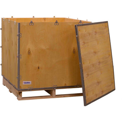 """Global Industrial™ 4-Panel Hinged Shipping Crate with Lid & Pallet, 36"""" x 36"""" x 36"""" O.D."""