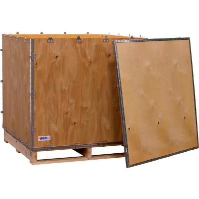 """Global Industrial™ 4 Panel Hinged Shipping Crate with Lid & Pallet, 39-1/2""""Lx39-1/2""""Wx34-1/2""""H"""