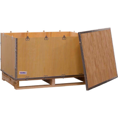 "Global Industrial™ 4-Panel Hinged Shipping Crate with Lid & Pallet, 41"" x 28-3/4"" x 25-1/2"" O.D"