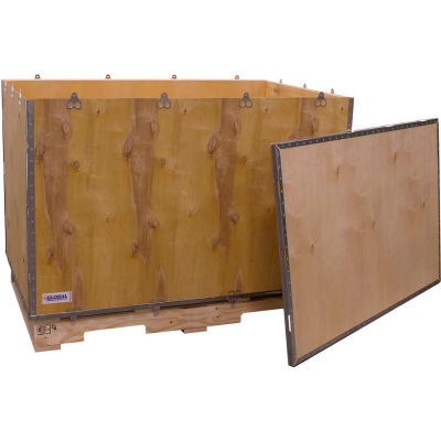 """Global Industrial™ 6 Panel Shipping Crate with Lid & Pallet, 47-1/4""""L x 29-1/4""""W x 29-1/2""""H"""