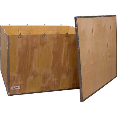 "Global Industrial™ 6-Panel Shipping Crate with Lid, 48"" x 40"" x 30"" O.D."