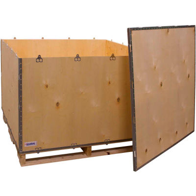 """Global Industrial™ 6-Panel Shipping Crate with Lid & Pallet, 48"""" x 45"""" x 35"""" O.D."""